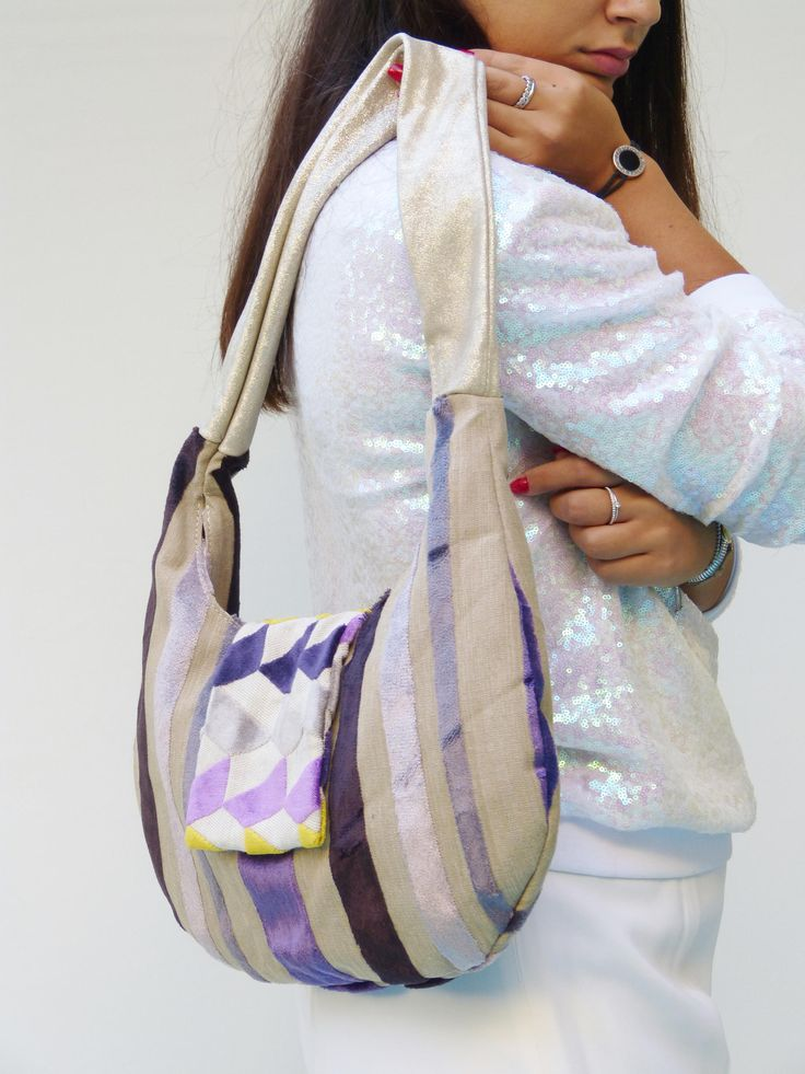 one of a kind design purses, purple hobo handbags striped