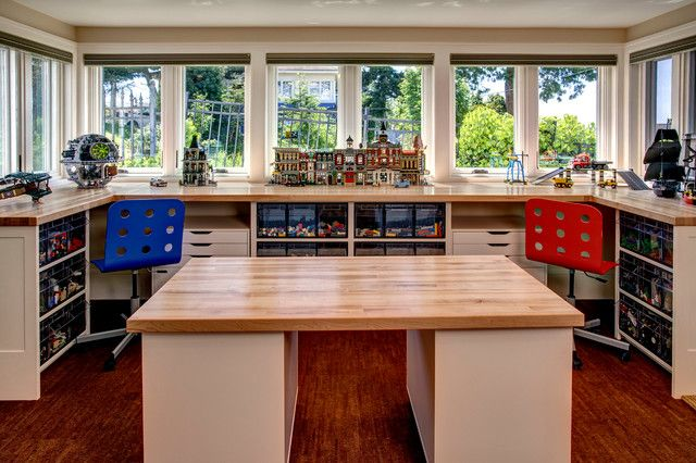 desks-galore-Kids-Traditional-with-basement-built-in-shelving ...