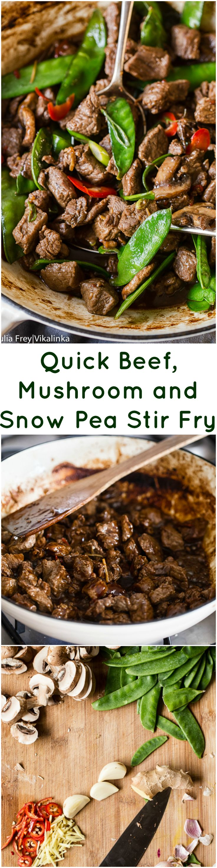 Make this beef, mushroom and snow pea stir fry when you have no time for cooking at all, it's that quick!