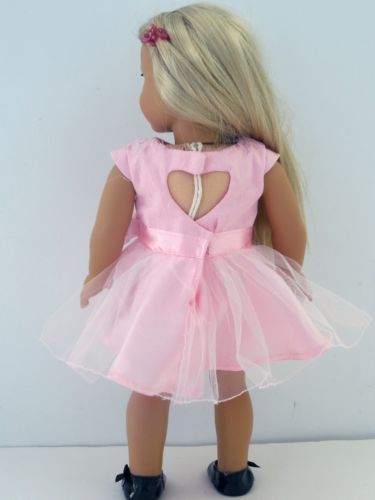 "Satin, Tulle, Pink Party Dress & Shoes, 18"" American Girl Doll Clothes"
