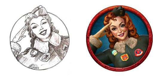 """Graphic design of special symbol for the game slot machine """"Bombshell bombers""""  More info at: http://slotopaint.com/bombshell-bombers/"""
