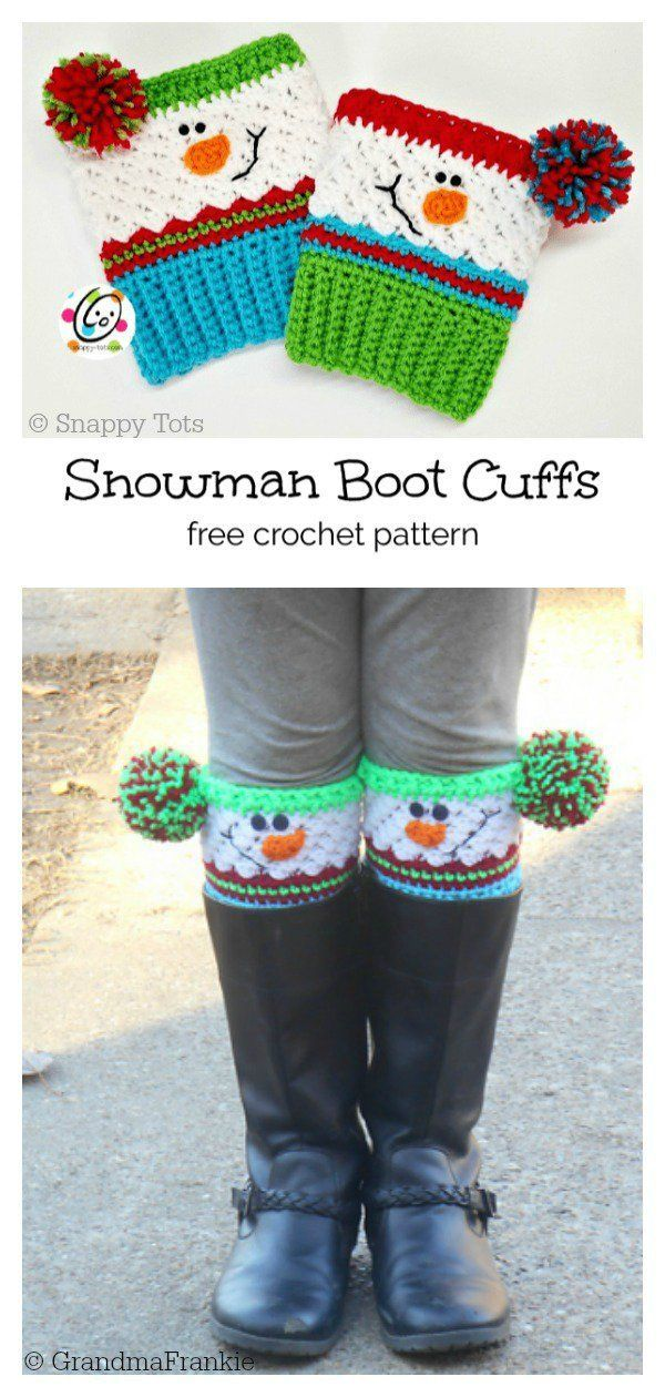 5 Christmas Holiday Boot Cuffs Free Crochet Pattern and Paid