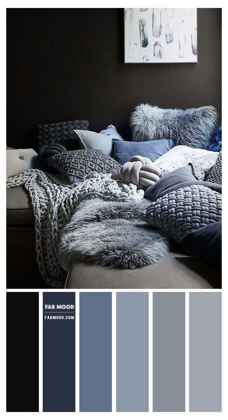 Blue Bedroom Colors, Navy Blue Bedrooms, Bedroom Colour Palette, Bedroom Color Schemes, Paint Colours For Bedrooms, Color Schemes Colour Palettes, Paint Color Schemes, Decorating Color Schemes, Grey Living Room Ideas Colour Palettes