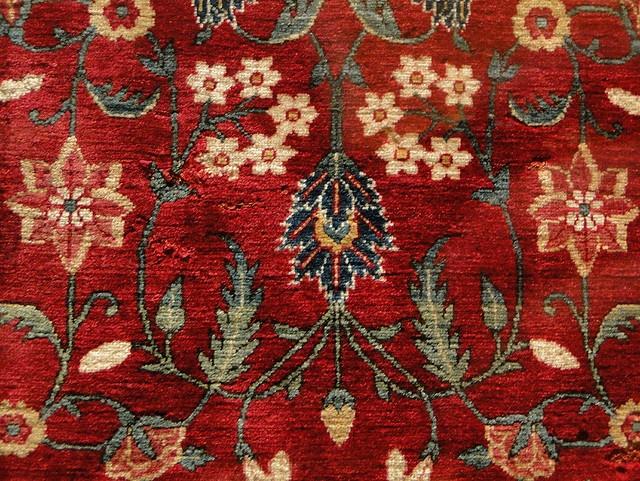 Moghul carpet, late 17th century. 780 knots per square inch. Ashmolean Museum, Oxford.