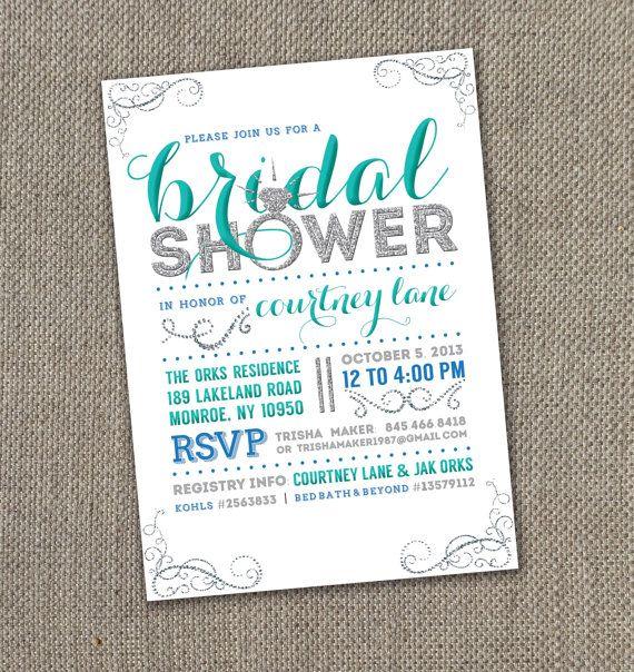 Bling Bridal Shower Invite. DIY. Modern Bridal Shower Invite. Sparkle Bridal Shower.