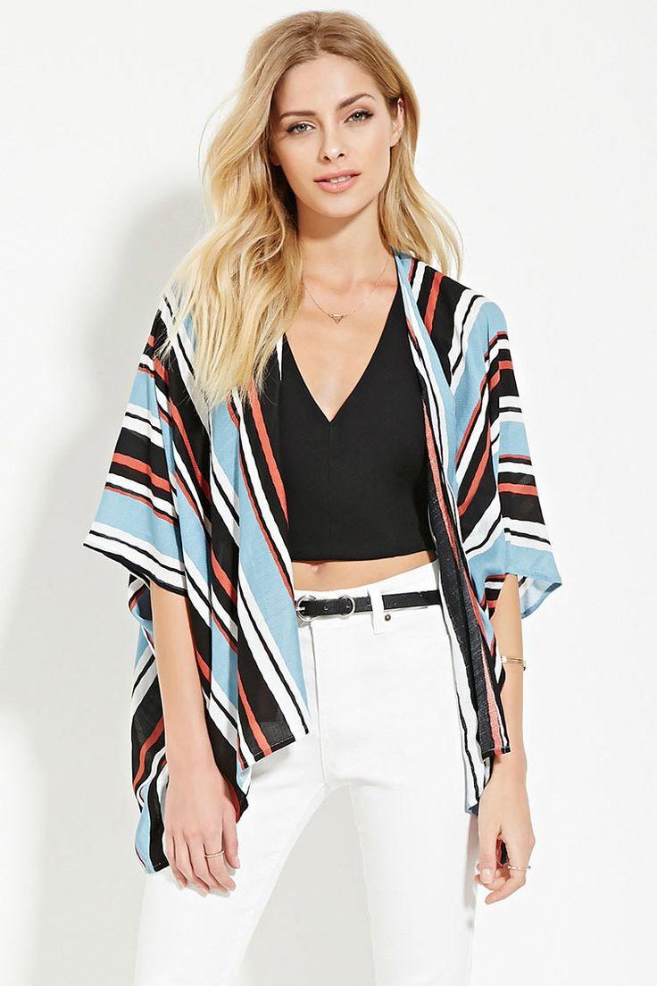 Contemporary Striped Kimono | Forever 21 - 2000169443 | for hope ...