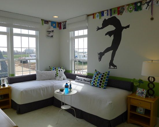 Spaces Kids Room With Two Beds Design, Pictures, Remodel, Decor and Ideas - page 13