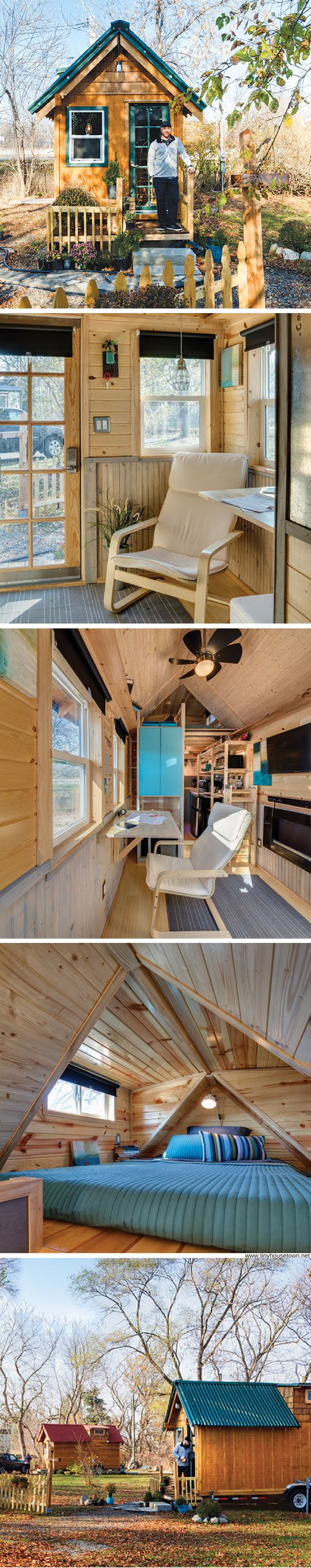 A lakeside tiny house that spans 130 sq ft