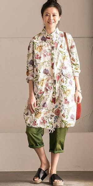 7732fae5dc1d LOVELY FLOWER COTTON LINEN WIND COAT BIG POCKET CASUAL WOMEN CLOTHES W6920B
