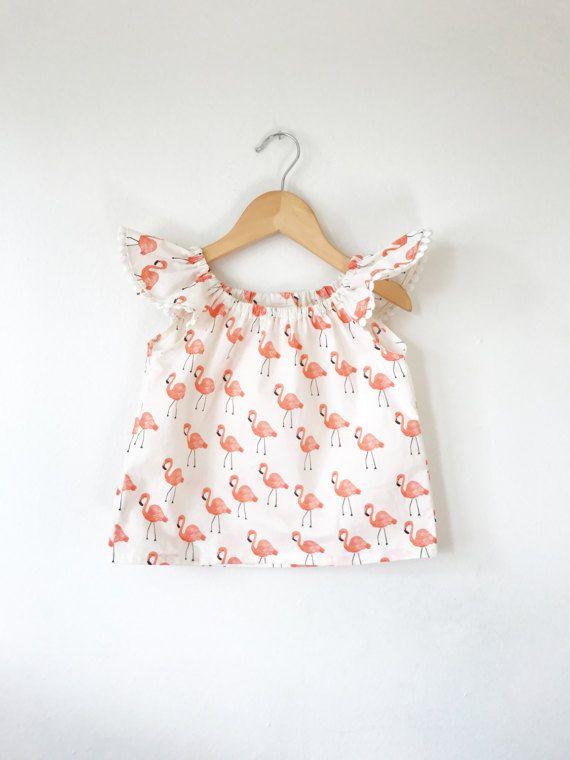flamingo ruffle sleeve top baby shirt toddler shirt baby clothes