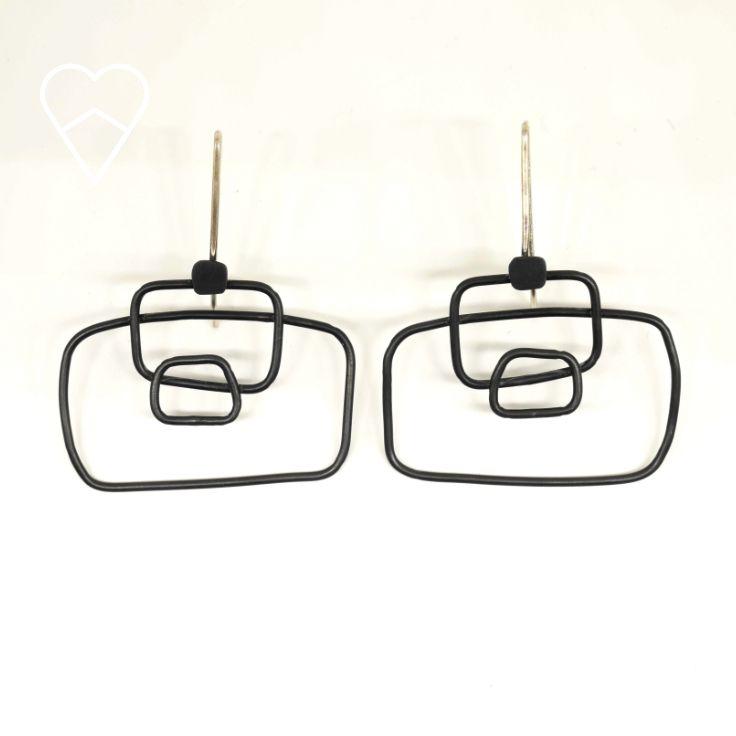 Oxidised silver wire frame earrings