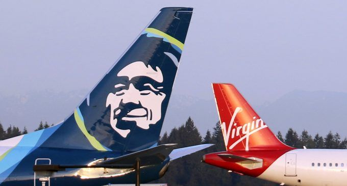 Maddy S. COMM 640. Section 2. Alaska Air Group Closes Acquisition of Virgin America. This pin shows the two airlines coming together. More information regarding the merger can be found on differentworks.com source: airwaysmag.com