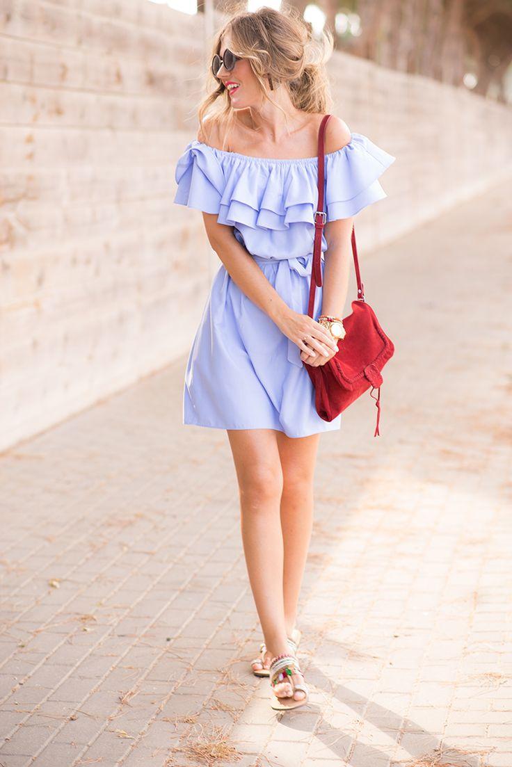 Light blue off the shoulder dress+ethnic flat sandals+red shoulder bag+sunglasses. Summer outfit 2016