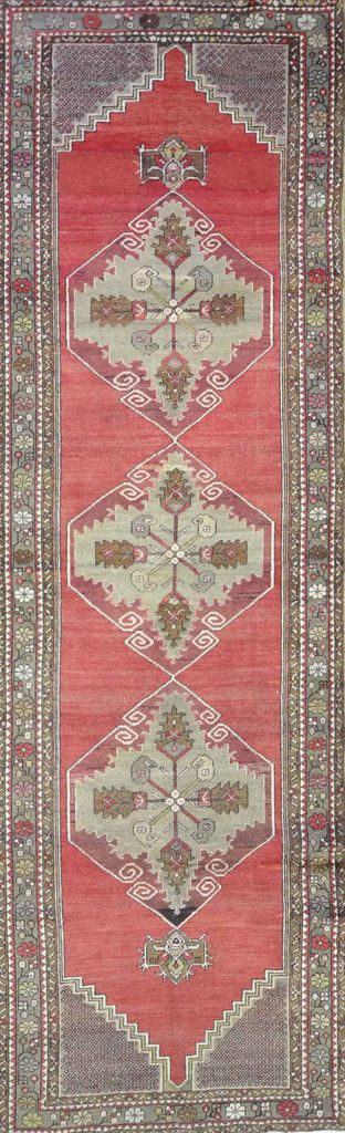 """Carpet Culture - TURKISH OLD RUNNER - 3' - 5"""" X 11' - 8""""  - A 024"""