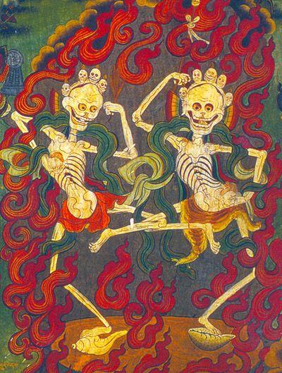 citipati. Les Citipati, gardiens des cimetières, ils sont l'un des 75 aspects de Mahakala dans le bouddhisme.