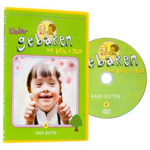 Lotte en Max dvd 'naar buiten'. Buiten spelen, vervoersmiddelen, het weer... alle gebaren die je nodig hebt om je buiten te vermaken leer je met deze dvd.