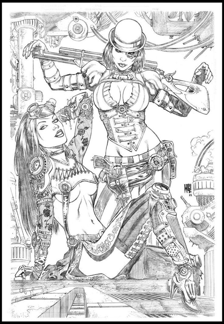 Steampunk vs Lady mecanika by wgpencil