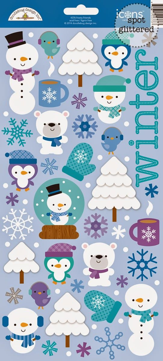 Frosty Friends Launch & Giveaway by Doodlebug Design - check out the Frosty Friends Sugar Icon Stickers - glittered cuteness