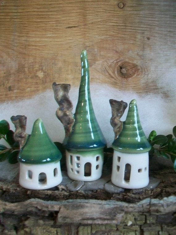 Fairy Houses -Set of 3- Great Holiday Decor - Porcelain with Green Roof - Handmade on the Potters Wheel