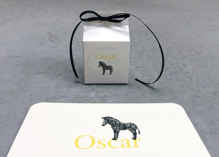 BIRTH CARD 'Oscar': offset print card with above, white cube with round 40 mm sticker / by www.missmoss.be