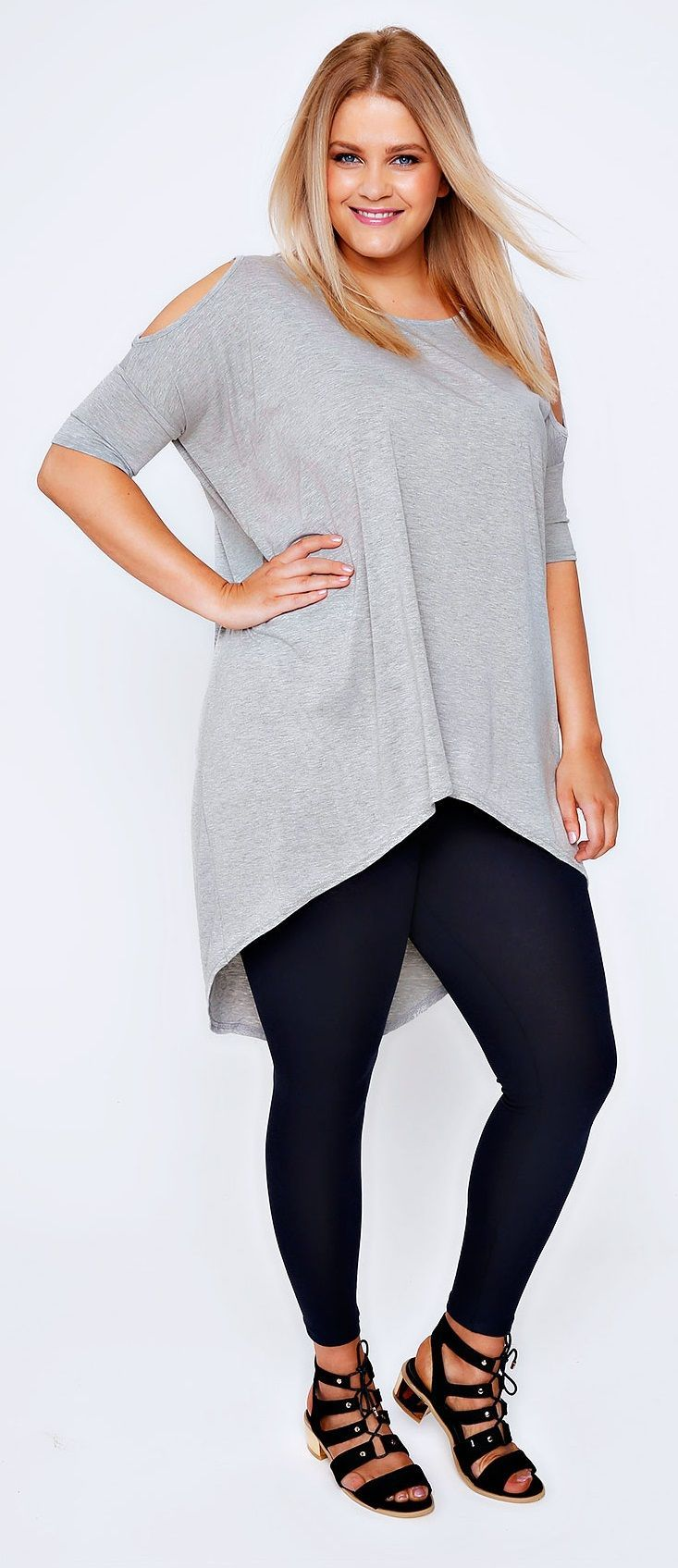 Plus Size Grey Marl Oversized Top With Cold Shoulder ...