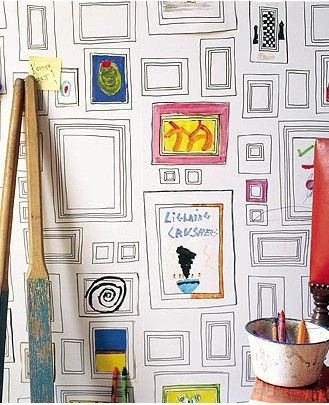 Wall paper frames for the kids art..in my attic library! !