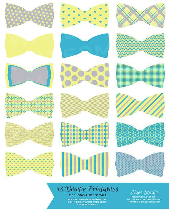 18 LEMON Baby BLUE and GREY Bowties / Printable by HuesPrintables, $3.50