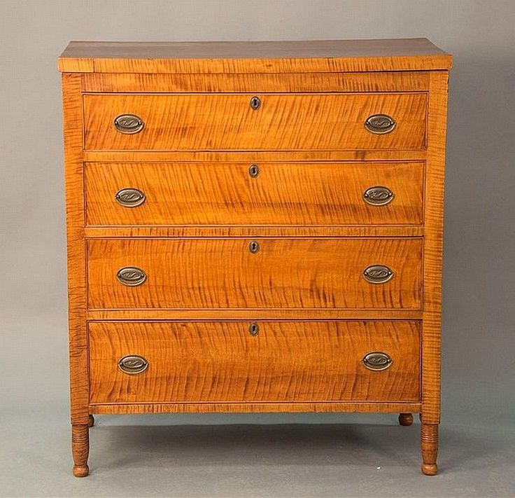 Sheraton Tiger Maple Chest Of Four Drawers On Turned Legs.Rht. 45 3/
