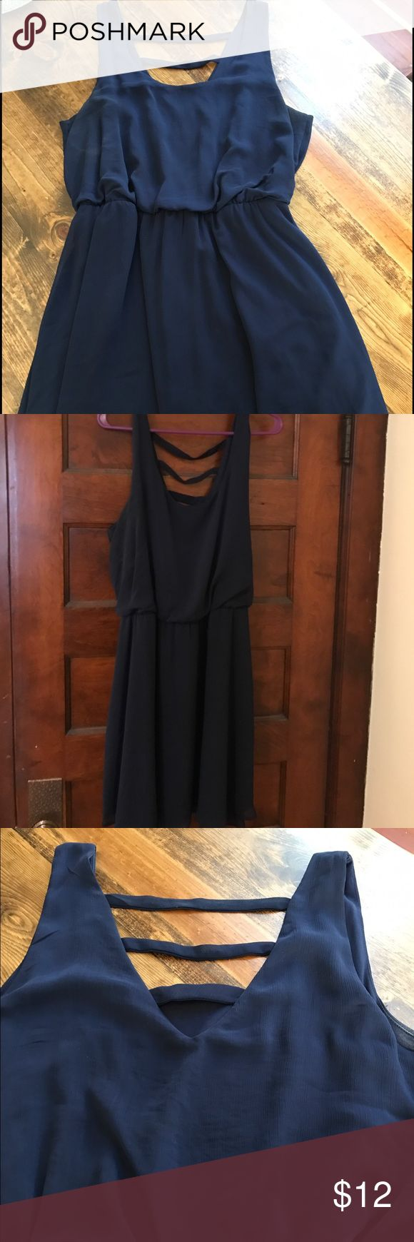 Navy short dress- Eyeshadow Sz XL Short, sleeveless, navy dress with strappy back. Elastic, clinched waist. Size XL, brand Eyeshadow. Worn once. Eyeshadow Dresses Mini