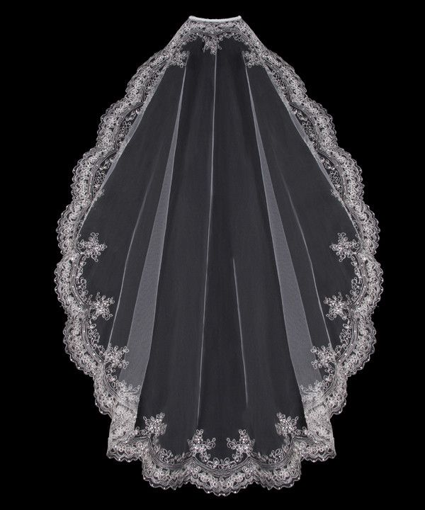 Mantilla Veil with Silver Embroidery and Rhinestones   Cassandra Lynne