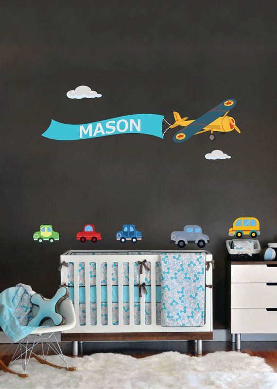 custom name wall sticker kids room baby nursery airplane nam