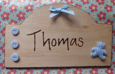 New Baby boy/girl hand engraved personalised bedroom nursery wooden door plaque gift from