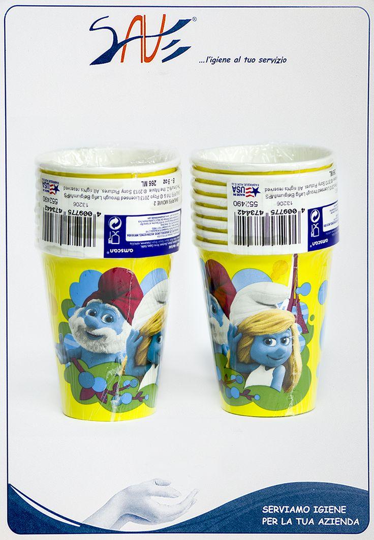 Bicchieri di carta Puffi per feste della Amscan