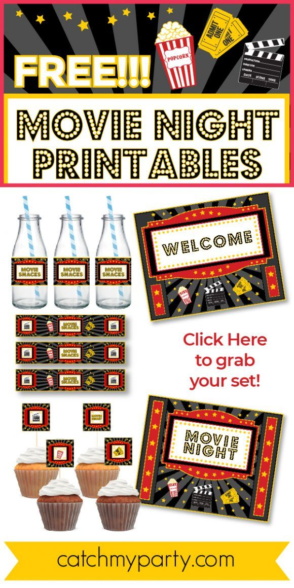 Movie Night Party Backdrop Printable backyard home theater poster cinema background birthday party sign decorations photobooth banner