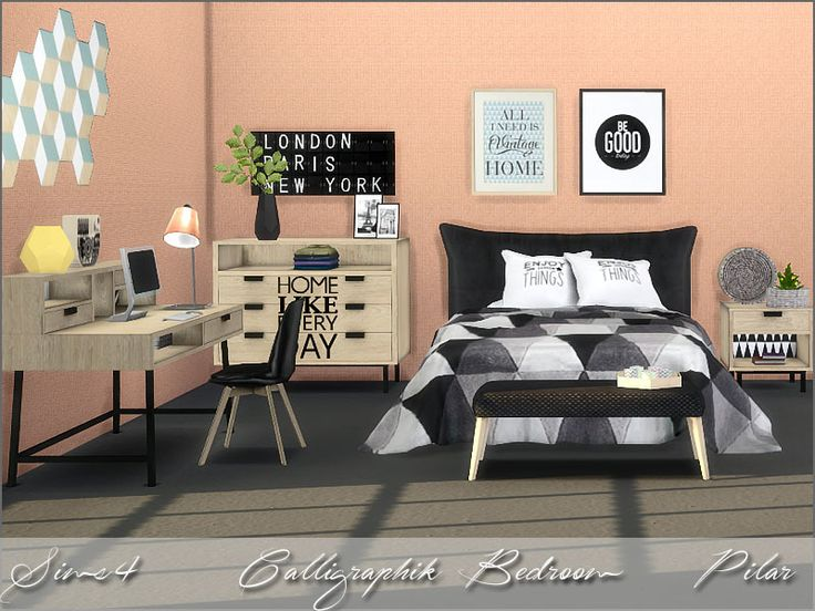 Calligraphic trend: modern, graphic, structured  Found in TSR Category 'Sims 4 Adult Bedroom Sets'