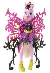 Monster High Dolls: Freaky Fusion Bonita Femur Doll 6 year old Bonita is the daughter of a Skeleton and a Moth (how I do not know).  Her moth parts include her furry legs, moth nibbled clothing, antennae for ears and wings.  http://awsomegadgetsandtoysforgirlsandboys.com/monster-high-dolls/ Monster High Dolls: Freaky Fusion Bonita Femur Doll
