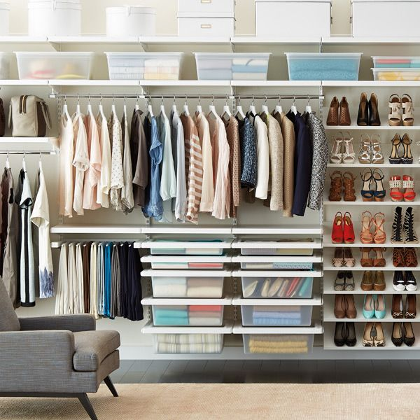 I need a closet/wardrobe system like this! We have such an usual room shape and conventional wardrobes just don't fit right.  (White elfa Deluxe Closet System - at The Container Store) shame they don't do this in the UK. Or at least need to find someone who does.