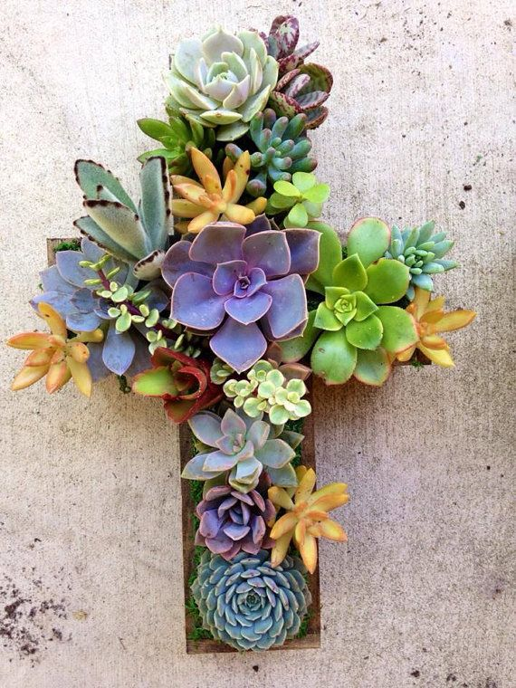Succulent Living CROSS Hang or Stand Centerpiece Outdoor Decor Perfect Unique Gift and Home Decor