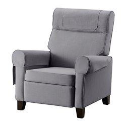 IKEA - MUREN, Recliner, Nordvalla medium gray, , When you lean backwards, the built-in footrest folds out.