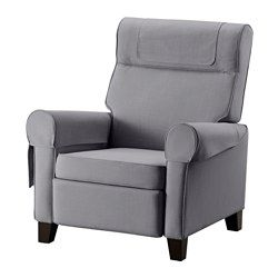 IKEA - MUREN, Recliner, Nordvalla medium gray, , When you lean backwards, the built-in footrest folds out.