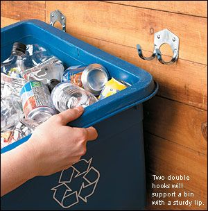 hanging a a recycling bin and having children put in car and take to recycler for allowance, good habits