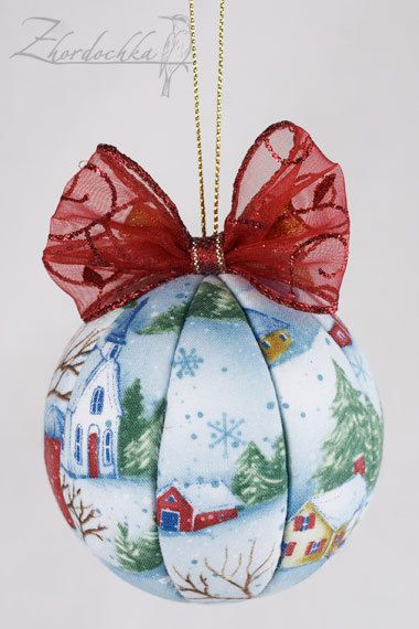 Christmas Ornament Snow Houses Kimekomi by Zhordochka