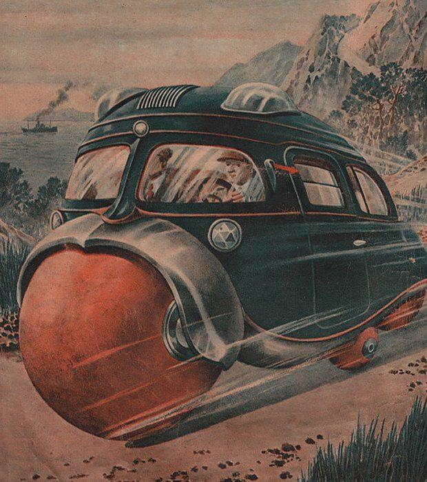 Автомобиль с шарообразными колёсами  Автомобиль, движущийся на нескольких резиновых шарах разного размера, должен обеспечить водителю более плавный ход, чем стандартное четырёхколёсное авто с резиновыми шинами. В случае аварии сферические колёса заменяют подушки безопасности.  В настоящее время сферические колёса по-прежнему остаются только концептом. Ими оснащён, например, автомобиль главного героя фильма «Я, робот», действие которого происходит в 2035 году...