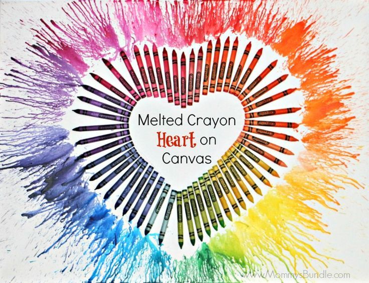 Melted Crayon Heart on Canvas | Create a beautiful piece of art for Valentine's Day with crayons and a blow dryer! Make a fun #DIY project!