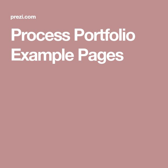 Process Portfolio Example Pages