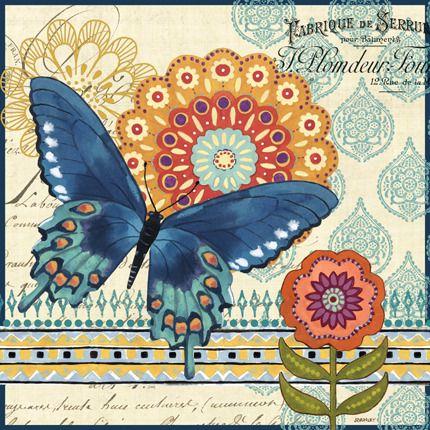 Butterfly Ballad-Dark Blue by Jennifer Brinley | Ruth Levison Design