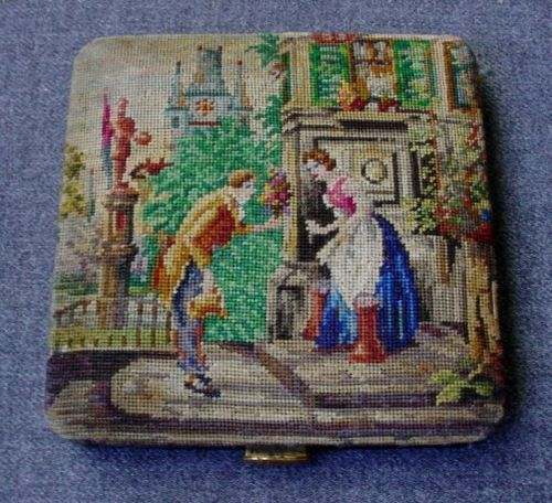 ANTIQUE FIGURAL SCENE HAND EMBROIDERY PETIT POINT COMPACT