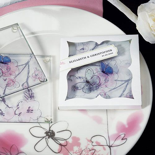 Artistic Botanical Flower And Butterfly Glass Coaster Set Of 2 Hand Drawn FlowersGlass CoastersWedding PartiesWedding Party FavorsWedding Ideas Unique