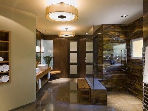 extraordinary bath...  tortoiseshell tile: Bathroom Design, Modern Bathroom, Beautiful Bathroom, Shower Wall, Spa Design, Master Bath, Shower Tile, Bathroom Spa, Contemporary Bathroom