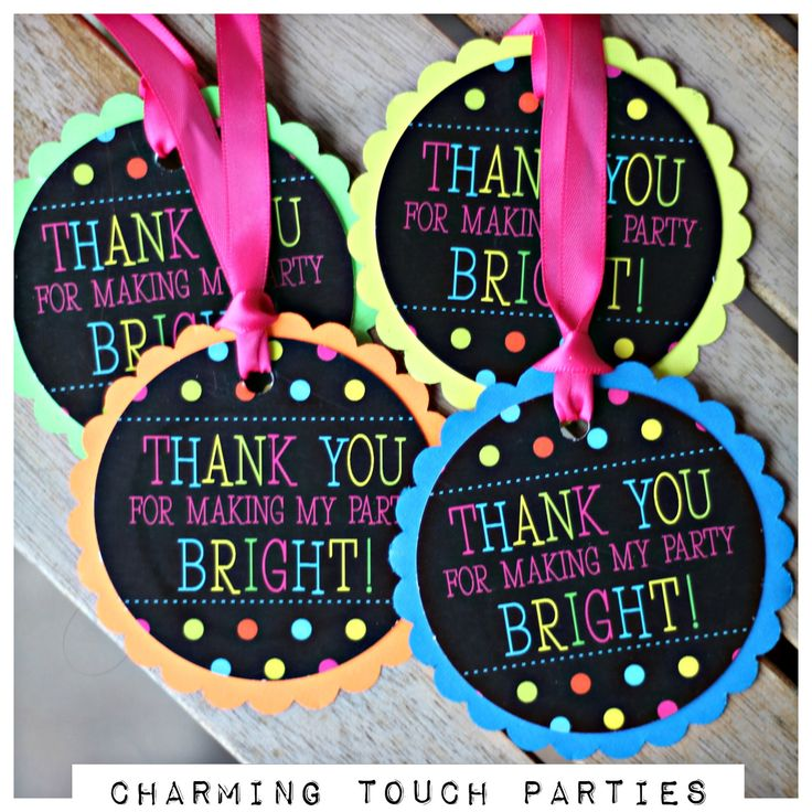 Girl Neon Birthday Party Favor Tags Set Of 18 Decor Decorations